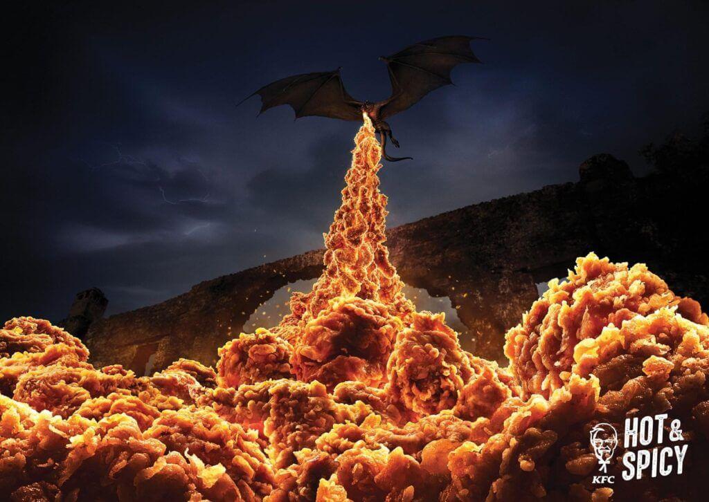 Smok ziejący ogniem KFC. Real Time Marketing