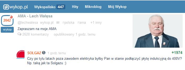Solgaz - AMA z prezydentem wykop.pl. Real Time Marketing